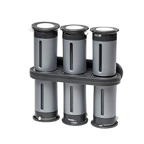 - YXIUER Zero Gravity 6 Piece Wall-Mount Magnetic Spice Rack with 6 Spice Canisters, Silver