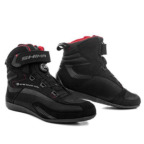 SHIMA EXO VENT MEN BLACK, Summer Ventilated Mesh Mens Motorcycle Boots met ATOP Sluitingssysteem (Zwart, 45)
