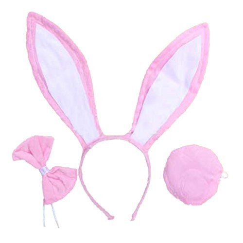 OPYUT Cute Rabbit Ears Tail and Bow Tie Suit-Pink -