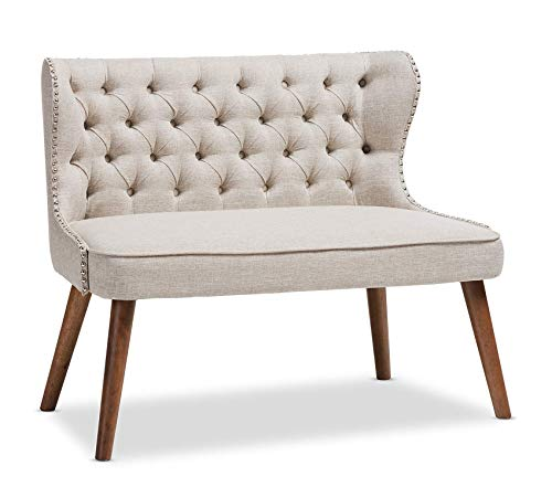 Office Home Furniture Premium Studio Sydney Walnut Wood Button-Tufting with Nailheads Trim 2-Seater Loveseat Settee, Light Beige