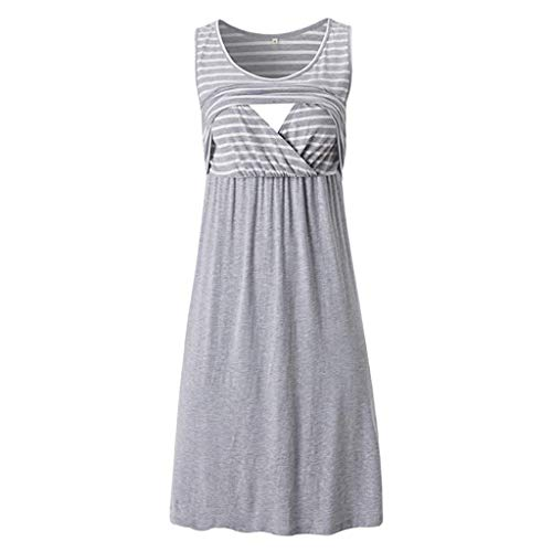 SSYUNO Breastfeeding Dress Women Casual Sleeveless Striped T-Shirt Pregnant Nursing Dress Knee Length Maternity Dress Gray