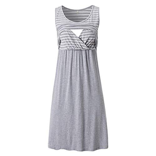 Nevera Women Summer Stripe Sleeveless Nursing Dress Flared Swing Breastfeeding Dress Gray