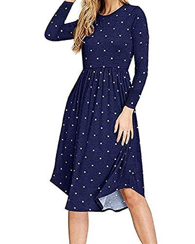 PRIMODA Women Pleated Polka Dot T-Shirt Dress Empire Waist Casual Midi Dress with Pocket Short Sleeves Long Sleeves Knee Length Dresses(Dark Blue-Long-L)