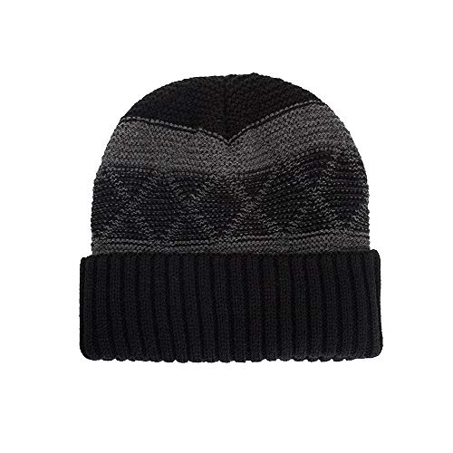 (NRUTUP Clearance Deals Fleece Lined Beanie Hat Mens Winter Solid Color Warm Knit Ski Skull Cap.(Black,Free)