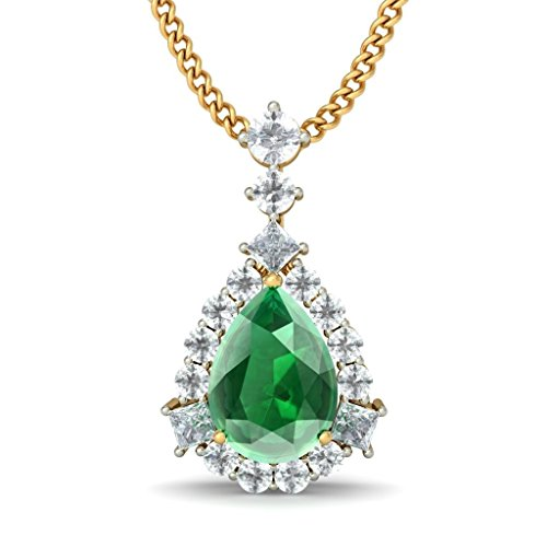 Or jaune 18K 0,29CT TW Round-cut-diamond (IJ | SI) et pendentif Émeraude