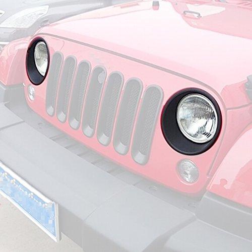 ICars Black Front Headlight Trim Cover Bezels Pair Jeep Wrangler