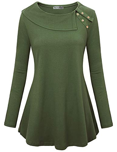Miss Fortune Button Cowl Neck Sweater, Womens Long Sleeve Tunic Top with Pockets Casual Loose Tunic Tops Shirts for Leggings Prime Wardrobe Womens Clothing Stylish, Army Green