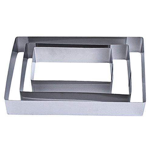 (TAMUME Stainless Steel Rectangle-Shape Baking Molds Set of 3 Cake Rings (Rectangular))