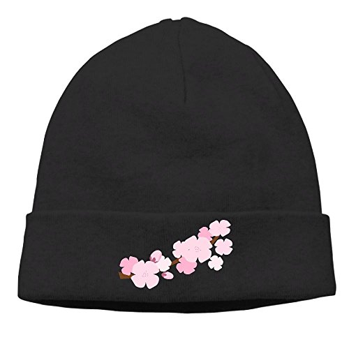 Cherry Blossom Men's&Women's Beanie Hat Winter Warm Daily - Cherry Black Beanie