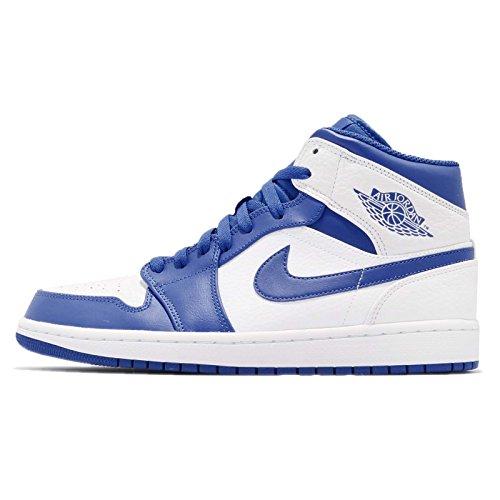 Nike Men's Air Jordan 1 Mid Basketball Shoes, White White (White/Hyper Royal-white 114)