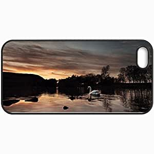 Personalized Protective Hardshell Back Hardcover For iPhone 5/5S, Swan Zero Evening Design In Black Case Color