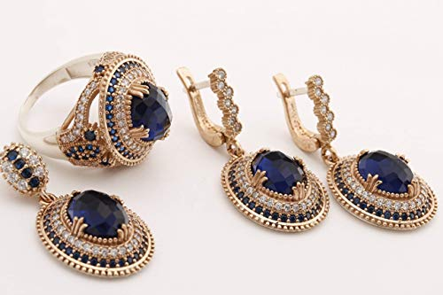 Ottoman Collection Turkish Jewelry Oval Cut Sapphire and Round Cut Topaz 925 Sterling Silver Jewelry Set Earrings,Pendant and Ring Size Option