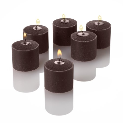 Set of 12 Brown Richland Votive Candles and 12 Glass Votive Holders