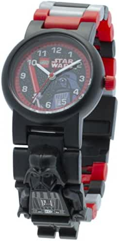 LEGO Star Wars Darth Vader Kids Minifigure Link Buildable Watch | black/red | plastic | 28mm case diameter| analog quartz | boy girl | official