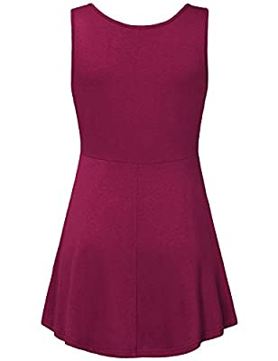 Nomorer Women's Sleeveless V Neck Fit and Flared Swing Tunic Tops