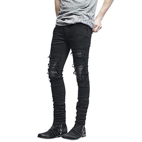 Strappati Saoye E Jeans Casual Giovane Denim Nero Aderenti Elasticizzati Uomo Con Fashion Da Skinny Pantaloni Nudi qn8Xw48prx