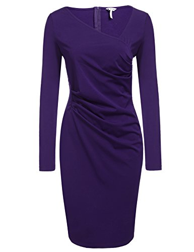 ANGVNS Women Long Sleeve Fitted Cotton Evening Party Sheath Dress, Purple, L