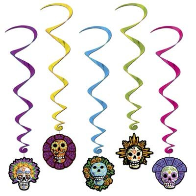 Halloween Day Of The Dead Whirls Party Accessory (1 count) (5/Pkg) Pkg/3 -