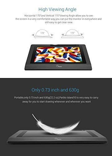 Parblo Coast10 10.1 Digital Pen Tablet Display Drawing Monitor 10.1 Inch with Cordless and Battery-Free Pen+ 4ports USB3.0 Hub+ Glove