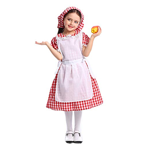 Girls Little Red Riding Hood Halloween Costumes Kids Christmas Party Cosplay Dresses (Large,Red 4 Without Cape)]()