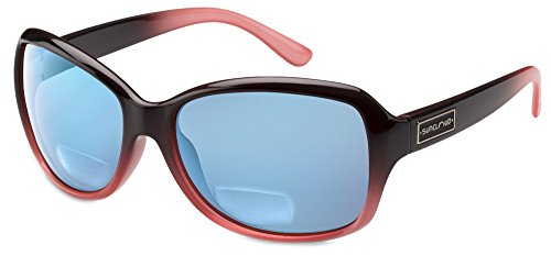 Suncloud Mosaic Polarized Bi-Focal Reading Sunglasses in Black Fade & Blue Mirror Lens +2.50 (Fade Blue Lens)