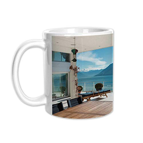 (Modern Decor Stylish White Printed Mug,Terrace Penthouse Overlooking Lake Outside Deckchairs Tranquil Scene for Living Room Bedroom,3.1