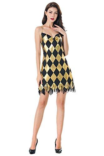 Club Costume Dress - COSMOVIE Women Sexy Black and Gold Sequin Club Nightclub Dress Backless Halloween Cosplay Costume