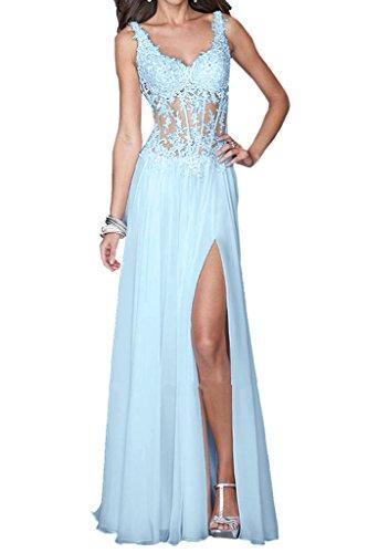 Sweep Sky Neck Party Illusion Dress Slit Light Evening Side Sexy Dress Lace Blue V Straps Avril 67v84wqq