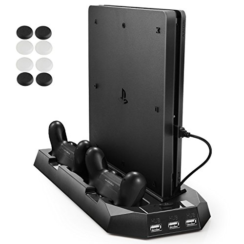 Pecham-Vertical-Stand-for-PS4-Slim-PS4-with-Cooling-Fan-Dual-Controller-Charging-Station-3-Extra-USB-Port-Black
