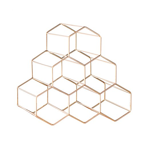 (Qi Peng- Stainless Steel Gold/Rose Gold Desktop Honeycomb Structure Strong Load-bearing Weight Light Durable Durable And Elegant Easy To Handle For Any Scene Six Bottles Of Wine Can Be Placed Wine rac)