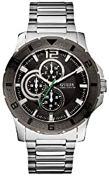Guess U12644G1 Chronograph Stainless Steel Mens Watch - Black Dial