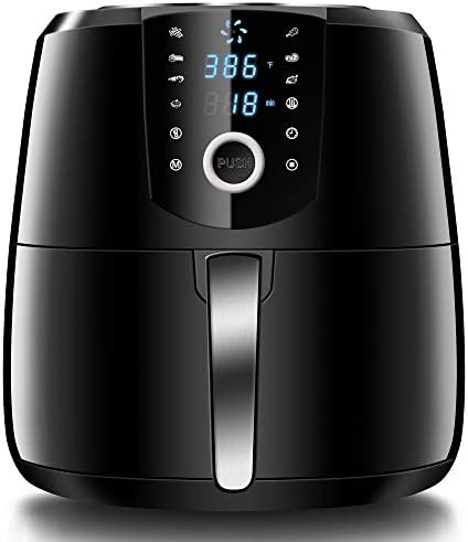 HOLSEM Air Fryer XL with Rapid Air Circulation System, 5.28 QT Extra Large Capacity Digital Air Fryer, Temperature up to 400 F, Low Fat Healthy Air Fryer, Black, 1500W LED Display