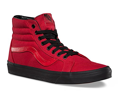 VANS Unisex Sk8-Hi Skate Shoes, Lace-Up High-Top Style in Durable Canvas and Suede Uppers, Supportive and Padded Ankle in Vans Vulcanized Signature Waffle Outsole Racing Red /Black