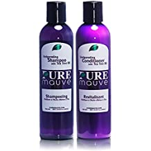 Shampoo and Conditioner Set Pure Mauve – Sulfate Free Hair Care for Men and Women with Tea Tree Oil and Vitamin E, Ideal for Curly, Damaged or Color Treated Hair. Buy Now and Dare to Shine!