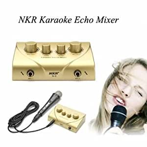 nkr karaoke echo mixer with two microphones sound effect mixer kit toys games. Black Bedroom Furniture Sets. Home Design Ideas