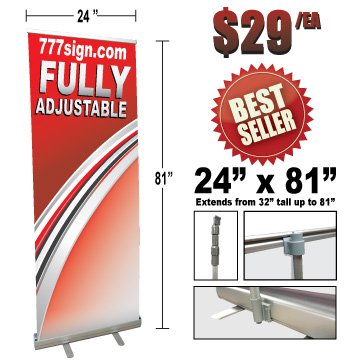 Double Foot Retractable Banner Stand, 24