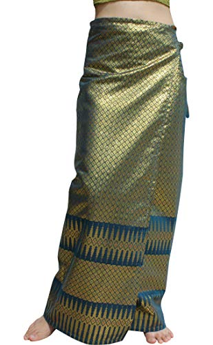 (RaanPahMuang Brand Full Star Line Motif Thailand Silk Wrap Skirt Thai Formal Sarong, Medium, Sea Blue)