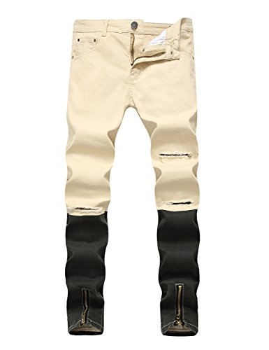DSDZ Men's Punk Style Ripped Slim Fit Paint Jeans with Bottom Zippers (W34, (Hip Hop Clothing Shoes)
