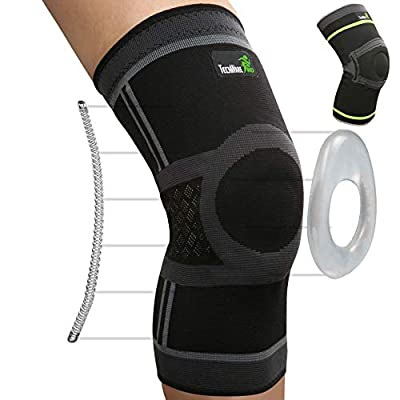 TechWare Pro Knee Compression Sleeve - Best Knee Brace with Side Stabilizers & Patella Gel Pads for Knee Support. Arthritis, Meniscus Tear, Joint Pain Relief & Sports Injury Recovery. Single