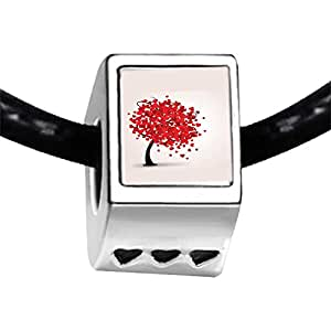 Chicforest Silver Plated Lovely Red Heart Tree Photo Three Heart Charm Beads Fits Pandora Charm