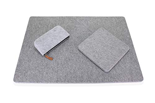 """100% Wool Pressing Mat for Quilting 17"""" x 24"""" Set with Portable 8"""" x 8"""" Travel Size Ironing Pad Complete with Felt Storage Pouch Case for Tools Topnix"""