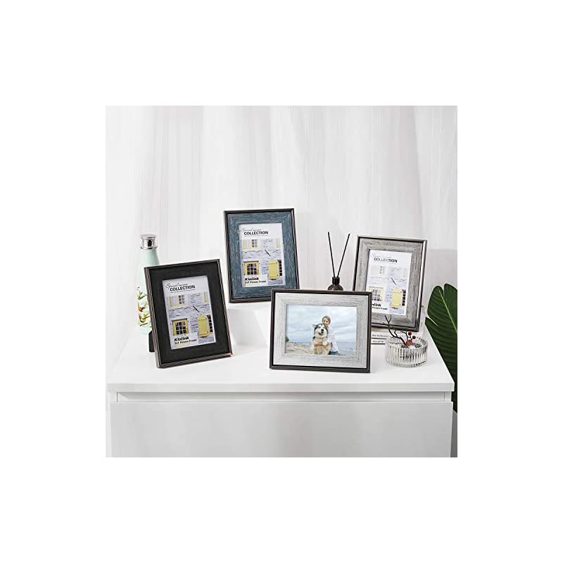 KINLINK Rustic 5x7 Picture Frames - Distressed Farmhouse Frames with Real Glass for Tabletop and Wall Mounting Display…