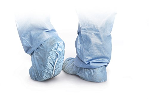 Medline CRI2102 Polypropylene Boot and Shoe Covers, Non-Skid, Regular/Large, Blue (Pack of 1000) (Covers Shoe Skid)