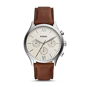 Fossil Fenmore Analogue Men's Watch (Off-White Dial Brown Colored Strap)