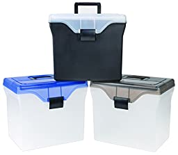 Staples Handy File Box, Letter Size, Clear w/Blue Lid