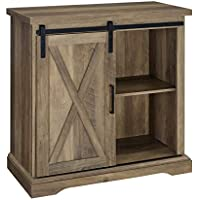 Pemberly Row 32″ Farmhouse Sliding Barn Door Wood Accent Chest Home Coffee Station Buffet Storage Cabinet in Rustic Oak
