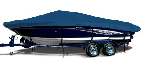 Royal Blue Exact Fit Boat Cover Fitting 2003-2008 Cobalt 220 Br W/bimini Laid Aft Stbd Side Tie Covers Ext. Platform Models, Sharkskin (Sharkskin Tie)