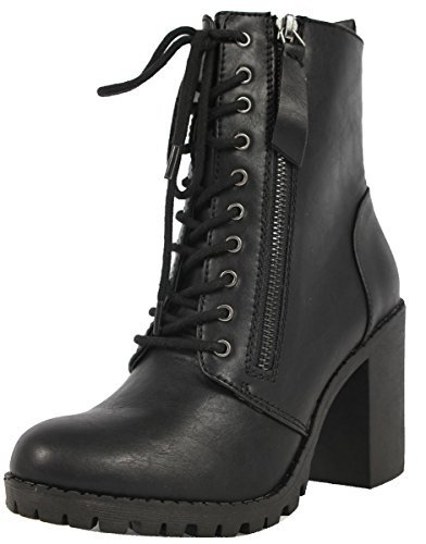 Soda Women's Malia Faux Leather Lace Up Chunky Ankle Boot, Black, 8 M (Black Leather Lace Up Boots)