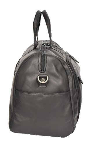 Black Real Leather Holdall Weekend Bag Business Travel Overnight Gym Bag Manila by A1 FASHION GOODS (Image #4)