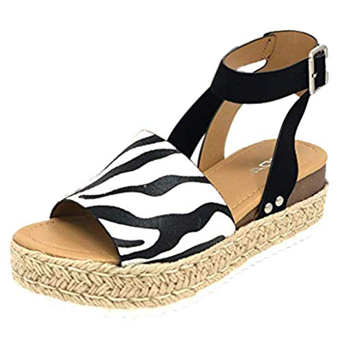 - Tantisy ♣↭♣ Women's Wedges Sandal Open Toe Ankle Strap Trendy Espadrille Platform Sandals Flats/Leather and Suede/5cm/1.96